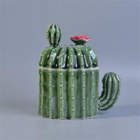 Quality Professional Popular Cactus Shaped Ceramic Candle Holder With Lids For Home Decor wholesale