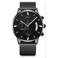 Quality 3 Atm Waterproof Mens Quartz Watch Lack Stainless Steel Band Chrono Customized wholesale
