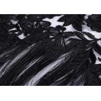 China Eyelash Macrame Fringe Black Lace Fabric , Net Embroidery Net Fabric Material on sale