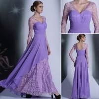 Quality Sell Purple Elegant long sleeve lace fashionable womens annual meeting show evening dress wholesale