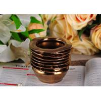 Quality 218ml Copper Electroplated Ceramic Candle Jars , bathroom candle holders Copper Glazed wholesale