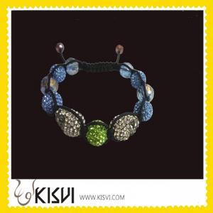 Quality OEM Exquisite Design CZ rhinestone beads Shamballa Crystal Bangle Bracelets wholesale