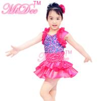 Quality Satin Tiers Skirt Ruffle Neckline Confetti Sequins On Bodice Dress Dance Clothes for Kids