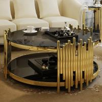 China Hot selling Luxury Gold Stainless Steel Coffee Table Round Tempered Glass Center Table For Home Hotel on sale
