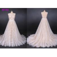Quality Sexy Backless Female Wedding Dress Sleeveless Sequins Tulle Bright Lines And Chi Shapes wholesale
