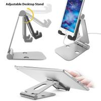 Quality Multi-angle Folding Portable Silver Black Aluminum Tablet Stand For Smartphone / iPad With A Silicone Anti-slip Cover wholesale