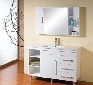 Quality White 48 inch bathroom vanity single Ceramic basin , optiona Waste drain wall mounted sink vanity wholesale