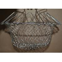 Quality Collapsible Deep Fryer Stainless Steel Mesh Basket , Wire Mesh Fry Basket wholesale