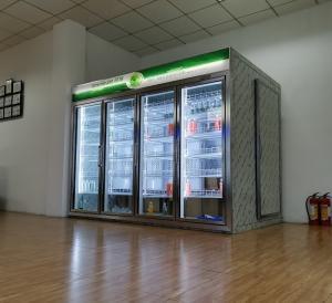 China SKD Self Service Walk In Glass Door Freezer Cold Storage Chiller 60Hz on sale