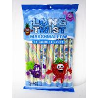 Quality Long twist fruit flavor mashmallow / extra long and soft / nice-looking snack mashmallow wholesale