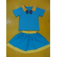 Quality Royal Blue And Mustard Children'S Cotton Pajamas Home Playwear Brother Sister 2pc Sets wholesale