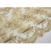 Quality Golden Corded Floral Embroidered Tulle Fabric Scalloped Edge For Wedding Dresses wholesale
