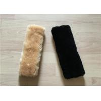 Quality Purple Natural Sheepskin Seat Belt Cover Non Patchwork 15X30CM / Customized Size wholesale