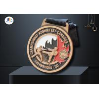 Quality Customised 3D Relief Soft Enamel Metal Award Medals Antique Copper Plating With Black Woven Ribbon Championnat Medailles wholesale
