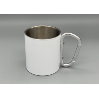 Quality Stainless Steel Portable 300ml Capacity Custom Camping Mugs With Carabiner Handle wholesale