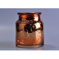 Quality Large capacity 20oz coloured glass candle holders , mercury rose gold glass candle jar wholesale