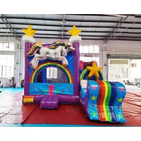 China Children Unicorn Bouncy Castle Slide Inflatable Bounce House Combos on sale