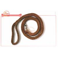 China Ultra Durable Fully Braided Real Leather Dog Leashes 4 Feet For Large Dog Breeds on sale