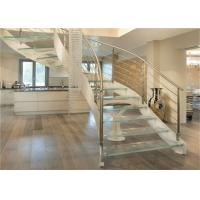 Quality Interior Wrought Iron Curved Wooden Staircase , Floating Wood Stairs Customize Size wholesale