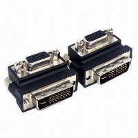 China Right Angle 90° VGA SVGA Female to DVI 24 + 5 male DVI to VGA RGB Adapter on sale