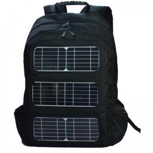 Quality Black Shoulder Strap Solar Charging Backpack For Outdoor Travel wholesale