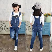 Quality Customized Size Kids / Toddler Overalls Jeans With Patches Dark Blue Vintage Wash wholesale