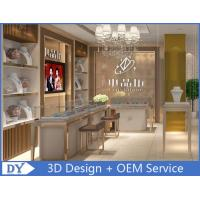 Cheap OEM White Store Jewelry Display Cases With LED Light , Jewellery Showroom for sale