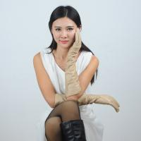 Quality women sheepskin white long leather gloves wholesale