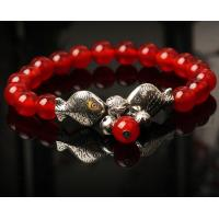 Quality Traditional red agate lucky silver fishes women