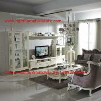 Cheap Neoclassical Living Room Furniture by Pure white Wall Unit and Coffee table with Luxury Sofa set for sale