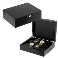 8 Slots Black Lacquered Nature Veneer Wooden Watch Box in Stocked