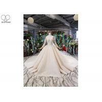 China Long Sleeeve Ladies Bridal Gown Special Lace Sequins Fabric Big Long Tail on sale