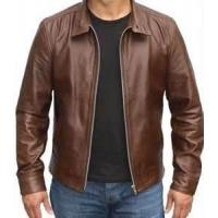 Quality Windproof special and charming brown Fleece Lined Leather jacket for men wholesale