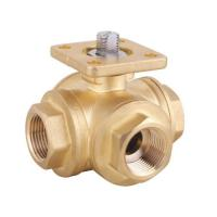 Cheap brass 3 way ball valve with mounting pad for sale