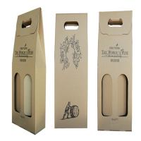 Quality Foldable Corrugate Paper Wine Box with Cut Handle wholesale