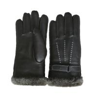 Quality Winter Lamb Fur Lined Mens Soft Leather Gloves With Belt Plain Style wholesale