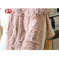 Pink PV Plush Long Faux Fur Blanket , Luxury super soft shaggy fleece fuzzy plush blanket for sofa ,couch