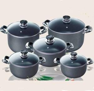 Quality aluminum non-stick cookware set 10pcs wholesale