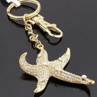 China Star-shaped Keychain, Decorated with Zircon and Rhinestone, OEM Orders are Welcome on sale