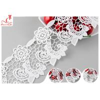 Quality Heavy Polyester Lace Fabric For Pom Dress , 8CM Guipure Floral Lace Trim wholesale
