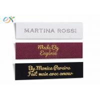 Quality Multicolor Logo Garment Woven Tag , Polyester Custom Clothing Tags wholesale
