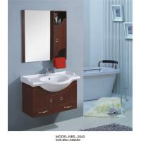 Quality 85 X 50 / cm round type wooden bathroom mirror cabinet light brown Color wholesale