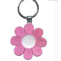 Quality Customized embroidered key chains, twill with metal ring with merrow border wholesale