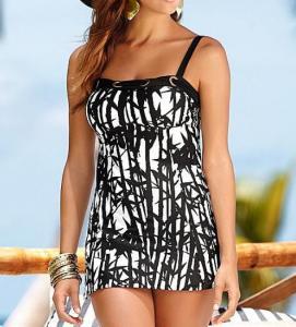 China Black white art printing women Tankinis swimwear made in China on sale
