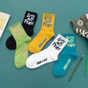 China Wholesale Funky Letters LOVE AND PEACE Knitted Couples Socks Breathable Cotton Trendy Letters Couples Socks on sale