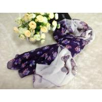 Cheap Butterfly Purple Square Voile Scarves Cotton For Spring for sale