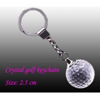 China customized logo engraved LED crystal Golf ball flashlights keychain gifts  for women on sale