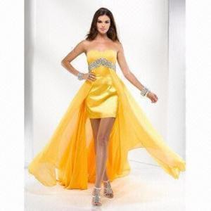 Quality Yellow Evening Chiffon Dress wholesale