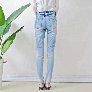 Quality Bulk order china cheap price branded women jeans light blue fancy design ladies skinny jeans wholesale