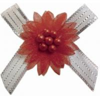 Quality Customized Decorative Christmas Ribbon Bows With Bead Flower 196 colors wholesale